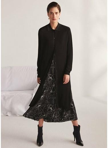 Beymen Collection Çiçek Desenli Midi Krep Elbise Siyah